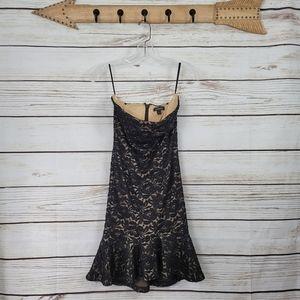 Bebe | Strapless Lace Mini Dress w Flounce Hemline